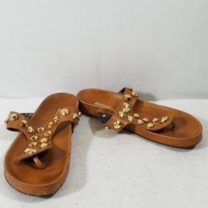 Schutz Tan Leather Studded Slide On Sandals 37